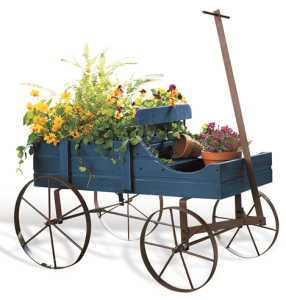Blue Amish Wagon Garden Planter